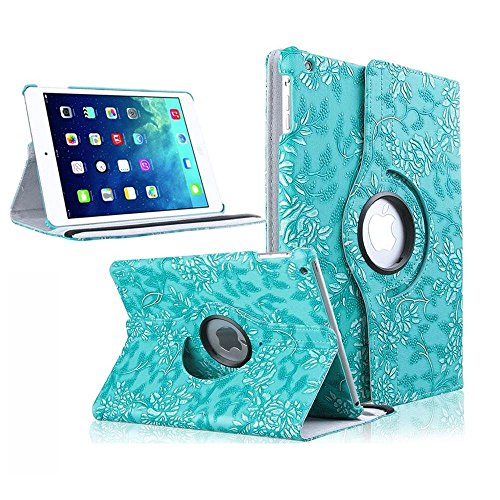 iPad Air Case, TabPow [360 Degrees][Flip][Smart Case] Grapevine Turquoise PU Leather Flip Case [Magnetic Closure] Smart Cover With Stand [Auto Sleep/Wake] For Apple iPad Air / iPad 5th Generation - Grapevine Pedestal