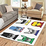 InterestPrint Super Dog Funny Animal Area Rug Carpet 7 x 5 Feet, Kid Gift Modern Floor Rugs Mat for Office Home Living Dining Room Decoration