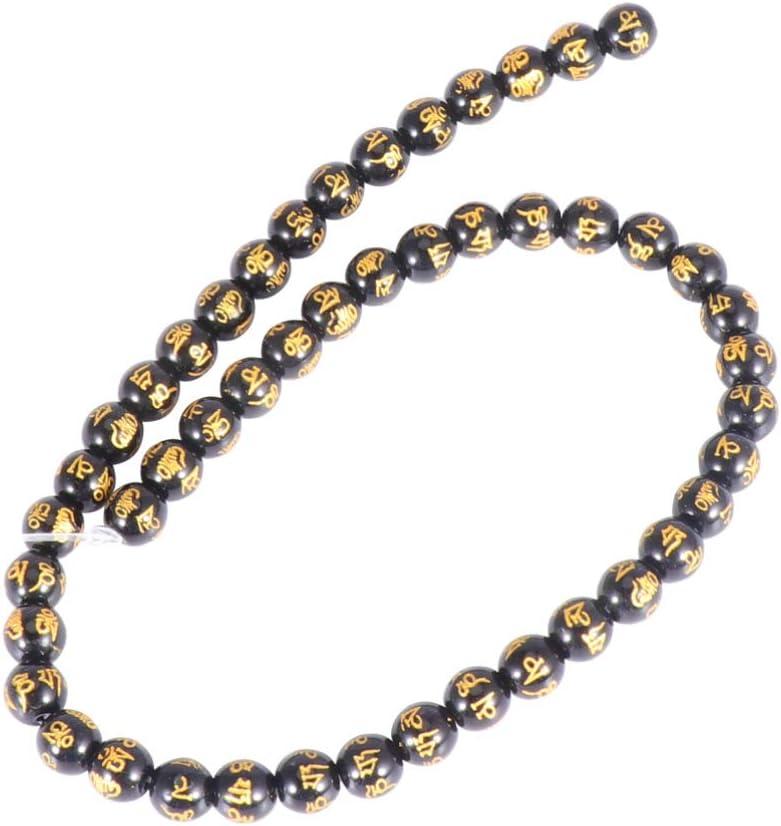 HEALLILY Pulseras de Piedras Preciosas de Obsidiana Cuentas de Oración de Obsidiana Cuentas de Piedras de Cristal para Hacer Joyas Aretes de Collar (8 Mm Negro)