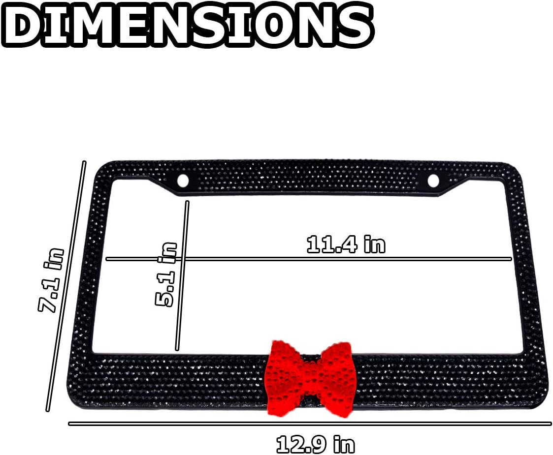 2 Pk with Mounting Screws Bling Bling Womens Plate Frame VaygWay Bling License Plate Frame Shiny Bling Frame with Bow Crystal Glitter Rhinestones Car Plate