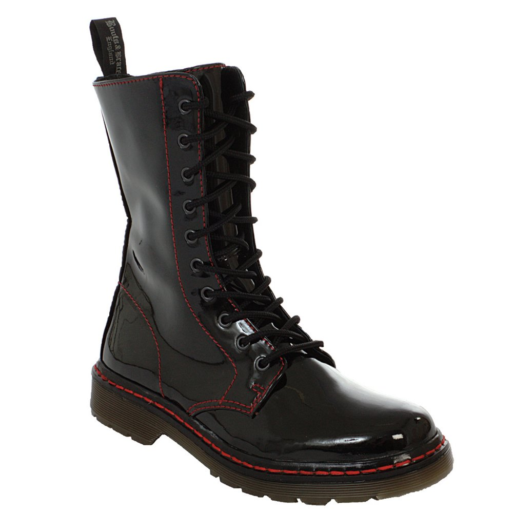 Stiefel & Braces - Easy 10-Loch TR Bloody patent schwarz Stiefel Rangers Schwarz Lack rote naht Boot Schuhe Bloody Patent