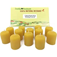 One Dozen (12) Hand Poured Solid Beeswax Votive Candles in Natural Wax - 100% Beeswax Candles by Toadily Handmade - Now…