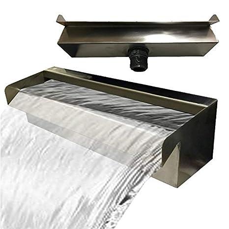 Acero inoxidable cascada agua parte cascada V2 A fabricado en Alemania 30,60,90 cm