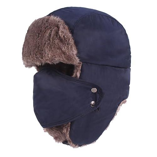Yiiquan Unisex Cappello Pelliccia Sintetica Anti-vento Caldo Antipolvere per Ski Inverno in Bicicletta Cappello