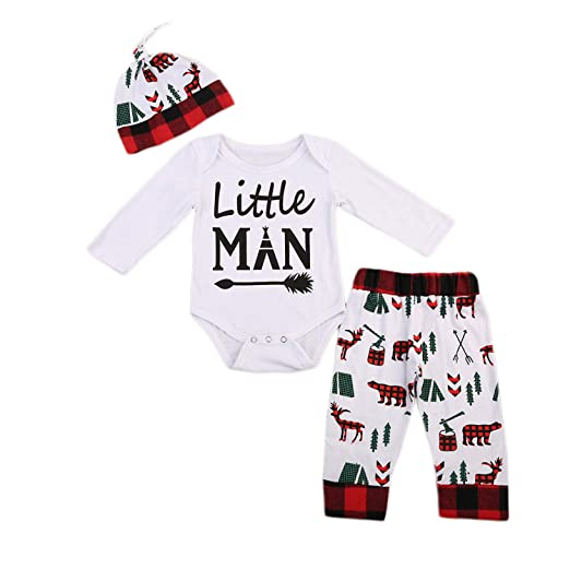7f4cf232 Amazon.com: 3pcs Set Christmas Newborn Infant Baby Boy Clothes Set Long  Sleeve Romper+Deer Pants Hat Outfits Christmas Clothes: Clothing