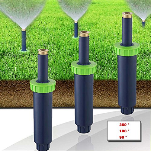 Zlimio 6.1 2.1 inch Auto Pop-up Spray Misting Nozzle Sprinkler Head Lawn Garden Irrigation System with 360 ° / 180 ° / 90 °3 Types Sprinkler Head