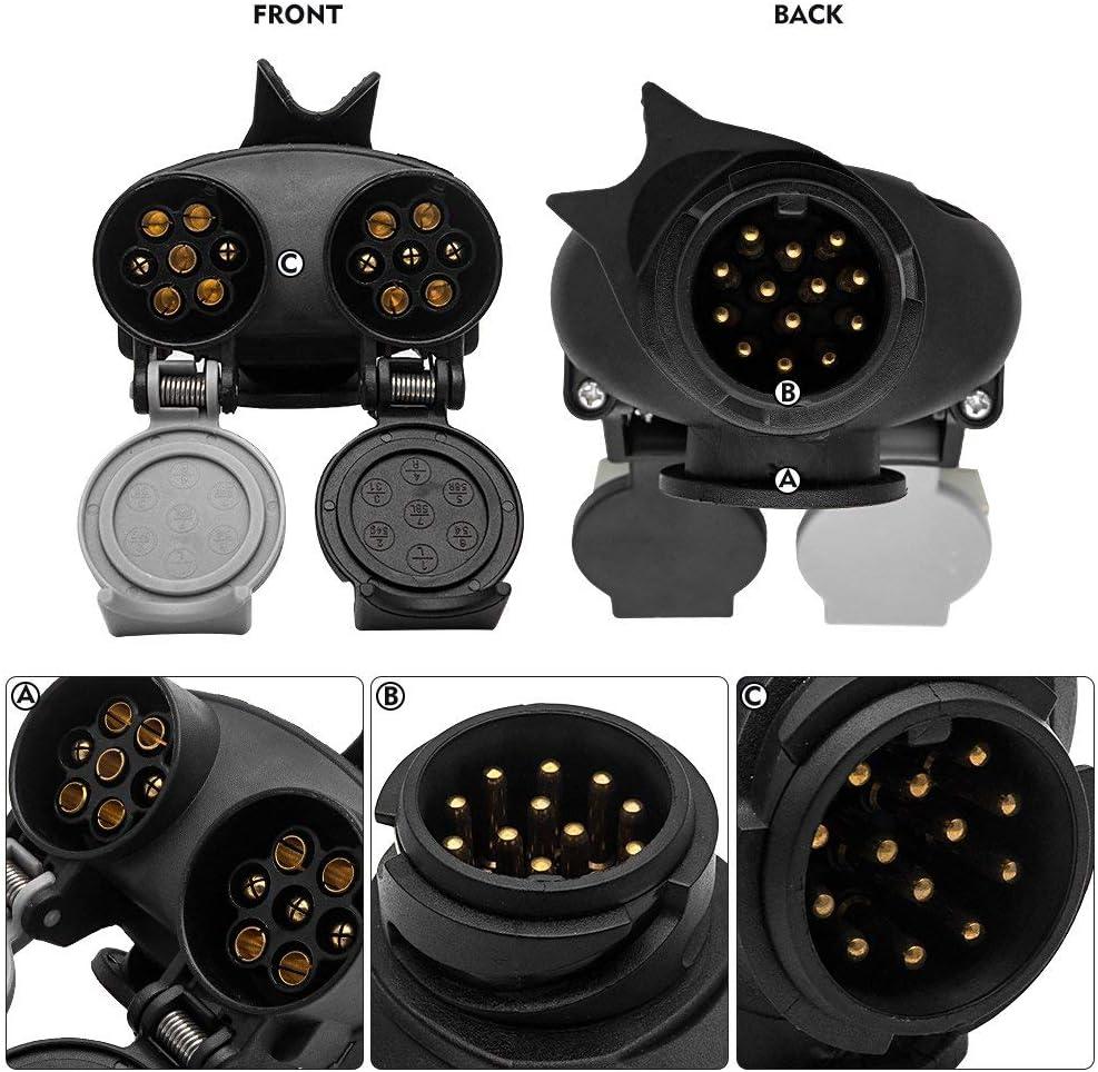 Trailer/Plug/Socket by HugeAuto 13 to 7 pin N /& S Euro Socket Car Trailer Truck Towbar Towing Socket Plug Adapter Converter 12V waterproof trailer plug black-1.Towbar Towing Socket