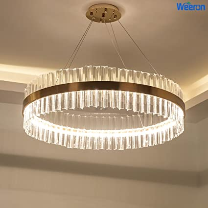WEERUN LED Latest Styles Clear Crystal And Retro Bronze Gold Light Stand  Ceiling Lights Fixture Lamp