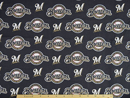 - Milwaukee Brewers Fabric MLB Baseball Fabric in Navy Blue 58