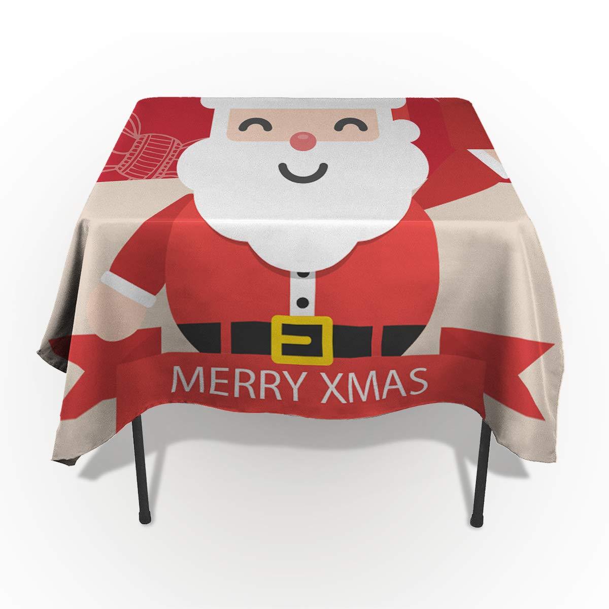 Edwiinsa 水滴がこぼれない洗濯可能な布製テーブルクロス クリスマス エルク Xms ツリー ホリー植物 ブラックとホワイト テーブルカバー ダイニングビュッフェ テーブルパーティー ピクニックテーブル 長方形/長方形 54 x 54 In WSJ-181113-zbuXmas-SWTQ00918ZBACEDA 54 x 54 In Santaclaus86eda9275 B07KGRRN2B