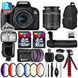 Canon EOS Rebel 800D/T7i Camera + 18-55mm IS STM Lens + Pro Flash + Battery Grip + 6PC Graduated Color Filter Set + 2yr Extended Warranty + 32GB Class 10 Memory Card - International Version