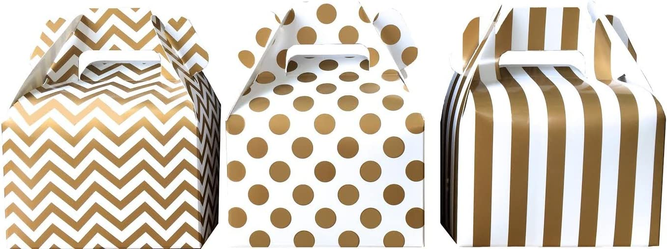 Outside the Box Papers Chevron, Stripe and Polka Dot Paper Gable Favor Boxes 36 Pack Gold, White