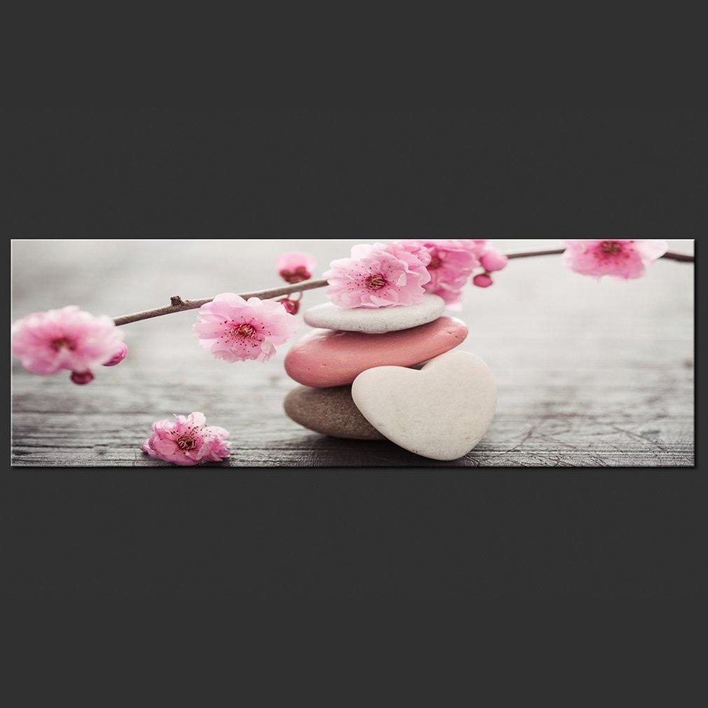 Natur Feng Shui Blumen Steine Herz Holz Rose b-B-0263-b-a murando Bilder Spa 100x45 cm Vlies Leinwandbild 1 TLG Kunstdruck modern Wandbilder XXL Wanddekoration Design Wand Bild
