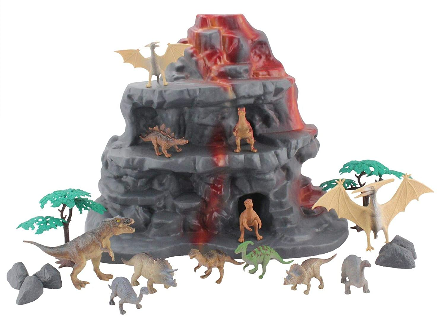 Wenno USA National Geographic Mountain Play Set with 20 Dinosaur  Figurines 20 Pieces NWX07002