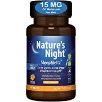 Triple Strength Nature's Night Sleep Meltz, 15mg Melatonin with Sleep Blend, 3 Month Supply, Natural Flavor, Sugar Free, Vegan, Non-GMO, Drug Free