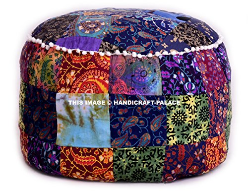 Ottoman Pouf Cover Multi-Color Decorative Indian Foot Stool