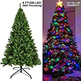 Juegoal 6 ft Artificial Christmas Tree with 300 LED Multicolor String Lights (NOT Pre-Strung) 8 Lighting Modes Fake Xmas Tree with Durable Metal Legs, 850 Tips