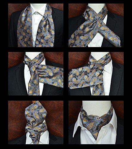 Men's Navy Blue Gold Brown Bronze 100% Silk Jacquard Woven Self Cravat Tie Ascot by Secdtie (Image #2)