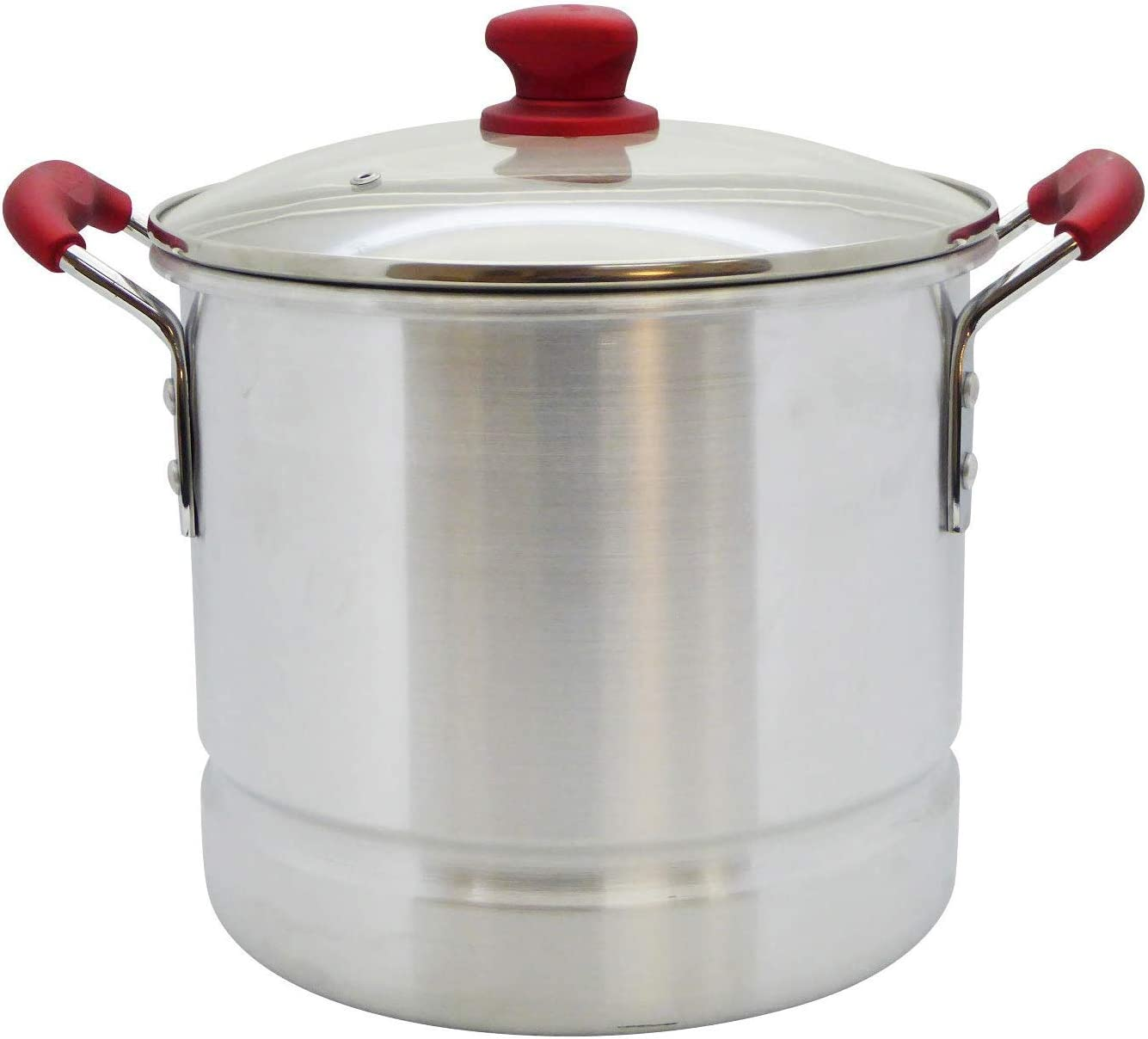 IMUSA USA, Ruby Red MEXICANA-732 32 Quart Aluminum Steamer with Glass Lid & Soft Touch Handles