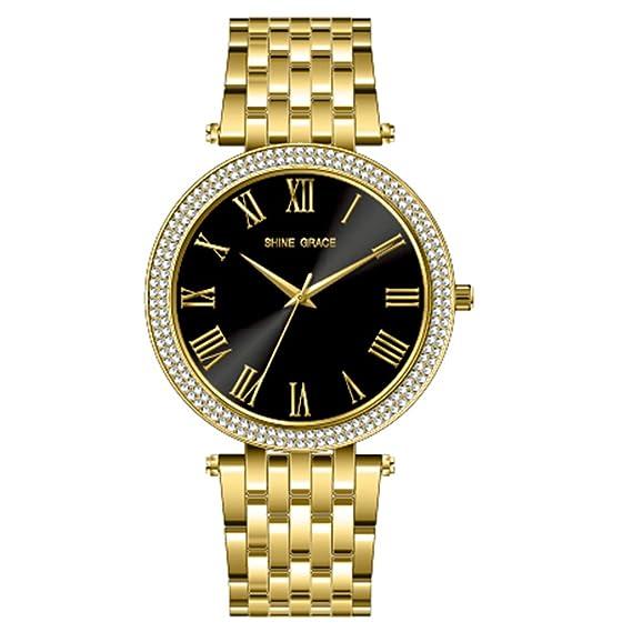 Shine Grace 39 mm para mujer reloj Números Romanos Acero Inoxidable Todo Dorado y negro cara ...
