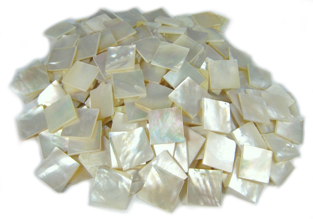 150 Pieces 1.5cm(0.59'') Square Sea White Mother of Pearl MOP Shell. One Side Polished. For Mosaic Art Tiles, Musical Instrument Inlay. by Unknown (Image #1)