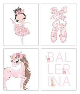 Designs by Maria Inc. White Ballerina Prints Set of 4 (Unframed) Nursery Decor Art (8x10) (Option 2)