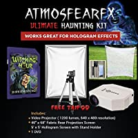 AtmosfearFX Witching Hour SD Meida Card Ultimate Haunting Kit, Includes Translusent Screen, Hologram Screen With Stand Kit and Free Tripod