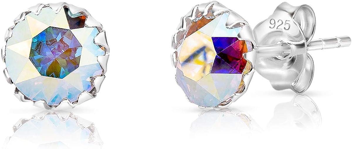 DTP Silver - Pendientes Semental de plata en forma redonda - Plata 925 con Cristal Swarovski Diámetro 6 mm - Colores diferentes