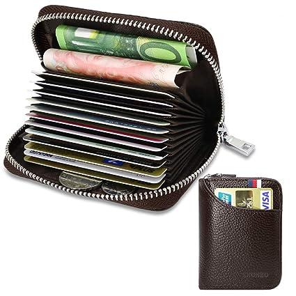 Tarjetero para Tarjetas de Crédito para Hombre Mujer RFID Titular de la Tarjeta de Crédito de Cuero con 13 Ranuras para Tarjetas y 2 Ranuras de Moneda ...