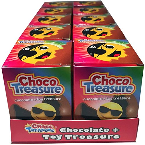 Emoji choco treasure chocolate eggs with toy surprise 0.8 ounce box 10 count ()