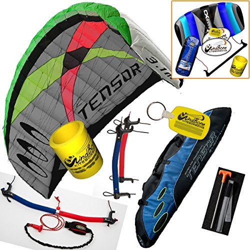 (Prism Tensor 3.1 Power Foil Kite 3-Line Control Bar CX Kite Bundle: (5 Items) Includes 2ND Control Bar Kite : CX 1.5M Foil Control Bar Trainer Kite + WindBone Kiteboarding Lifestyle Decals + WindBone Kitesurfing Key Chain + WB Kiteboarding Koozy Cooler : Land Snow Trainer Foil Traction Power Kite)