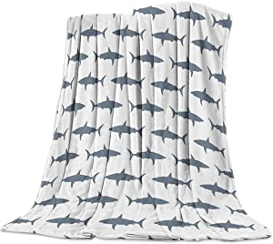 "Arts Language Flannel Fleece Throw Blanket for Couch Bed Shark Fish Shadow Printed Pattern Soft Cozy Lightweight Bed Blanket for Kids/Adults/Girls/Boys 49""x79"""