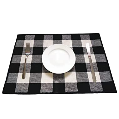 Levinis Cotton Placemats Set of 6- Durable Buffalo Check Place Mats for Kitchen Table- Easy to Care, Machine Washable