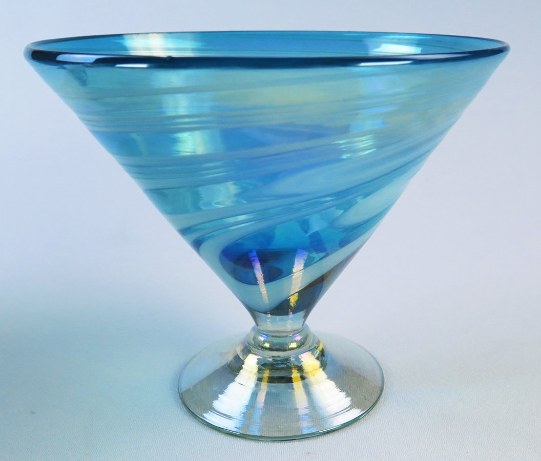 Mexican Glass Turquoise White Swirl Margarita or Martini (short) Set of 4 by Mexican Margarita Glasses (Image #3)
