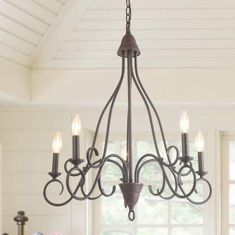 LALUZ 5 Lights Transitional Island Pendant Iron Chandelier in Rusty Metal Finish with Candlesticks, 24 Medium Foyer Light Fixture