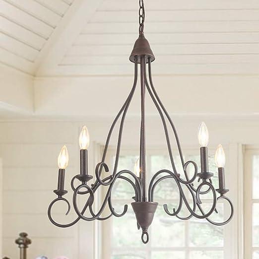 Amazon.com: LALUZ - Lámpara colgante con 5 luces, diseño de ...