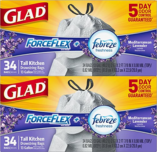 Price comparison product image Glad ForceFlex OdorShield Tall Kitchen Drawstring Trash Bags - Febreze Mediterranean Lavender - 13 Gallon - 34 Count - 2 Pack (Packaging May Vary)