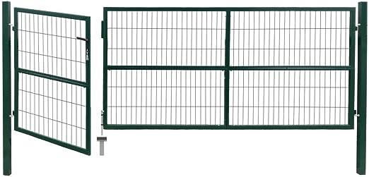 Festnight Gartentor mit Pfosten Stahl 350/×100 cm Anthrazit