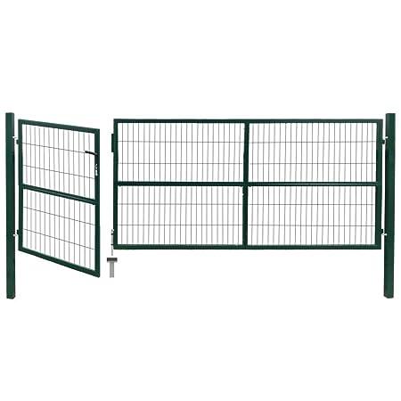 mewmewcat Gartentor mit Pfosten Gartenzauntor Gartent/ür 350 x 120 cm Stahl Gr/ün