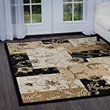 "Home Dynamix Optimum Byron Area Rug 3'7"" x5'2 Geometric Grid Floral, Black/Beige"