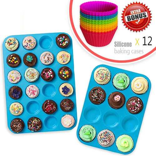 Silicone Muffin Tray Cupcake Baking Pan Set (12 & 24 Mini Cup Sizes), Non Stick BPA Free Dishwasher Safe Bakeware Tins, Top Home Kitchen Molds with 12pcs Free Silicone Baking Cups by Amison ()