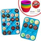 Silicone Muffin Tray Cupcake Baking Pan Set (12 & 24 Mini Cup Sizes), Non Stick BPA Free Dishwasher Safe Bakeware Tins, Top Home Kitchen Molds with 12pcs Free Silicone Baking Cups by Amison
