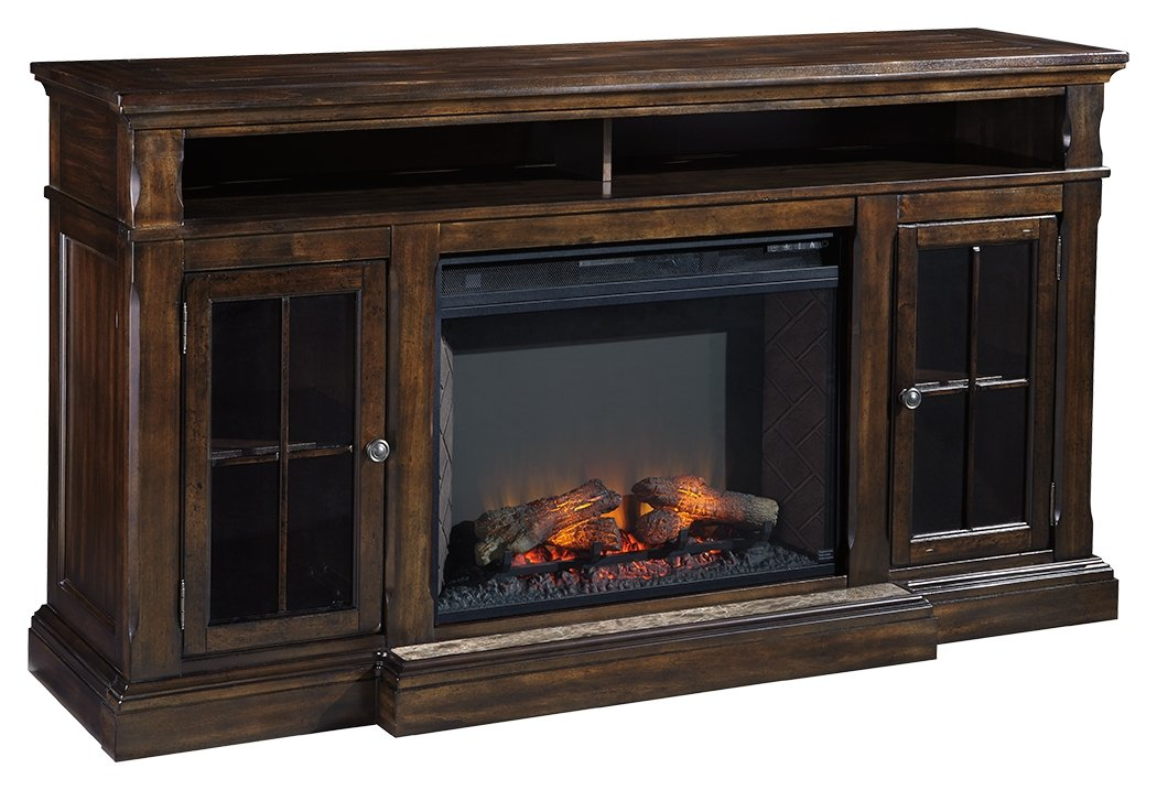 Ashley Furniture Signature Design - Roddinton Traditional TV Stand with Fireplace Insert - Dark Brown by Signature Design by Ashley
