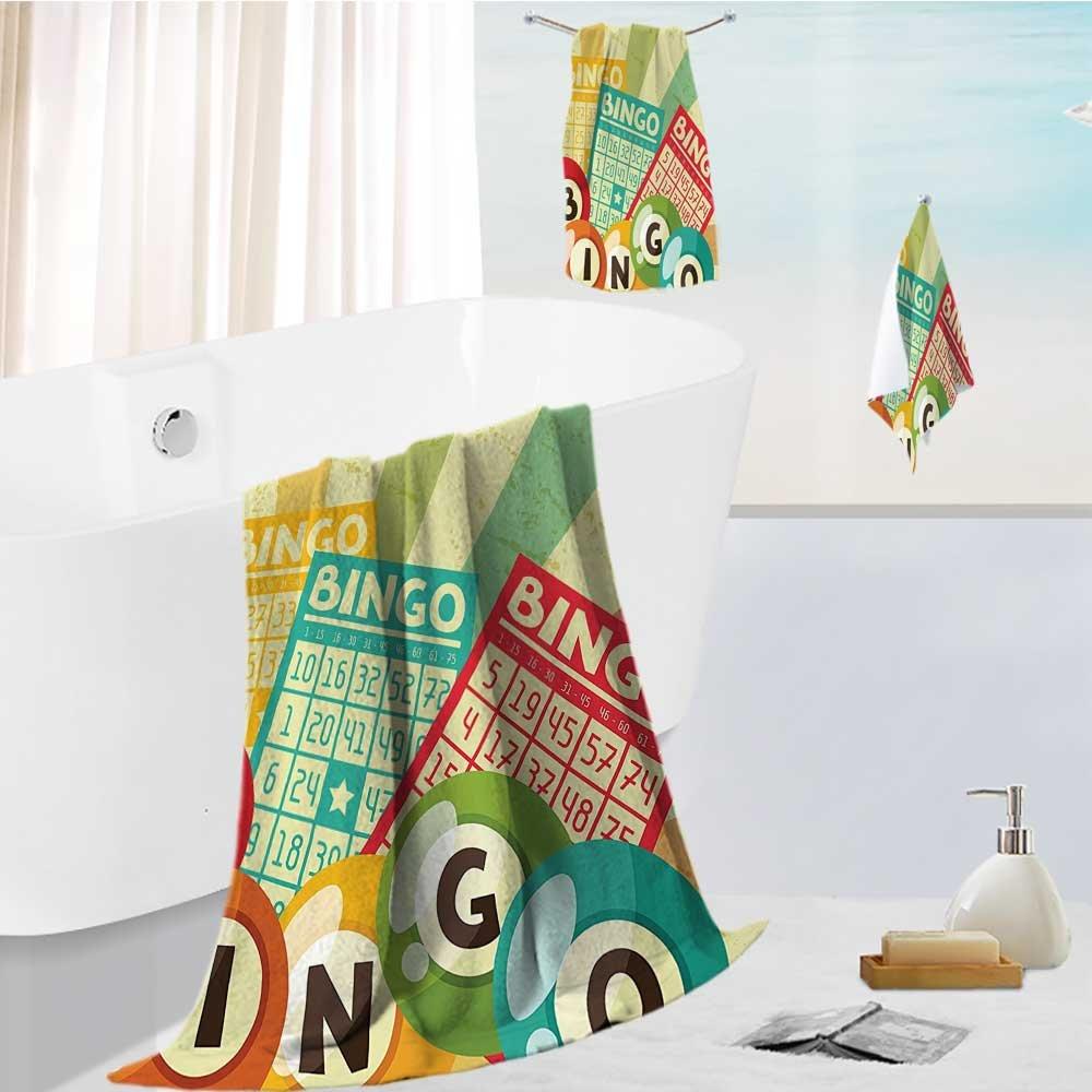 Miki Da toddler bath towel set Bingo Game with Ball and Cards Pop Art Stylized Lottery Hobby Celebration Theme Ultra Softness & Absorbency 13.8''x13.8''-11.8''x27.6''-27.6''x55.2'' by Miki Da