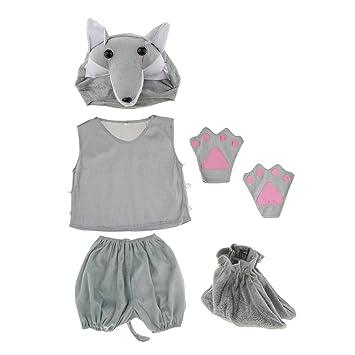 F Fityle Lindo Traje De Lobo Gris Niños Pijamas De Animales ...
