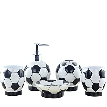 High Grade 5 Pieces Bathroom Accessory Set With Soccer Fans Gift  Ensemble,Resin Sanitary Ware