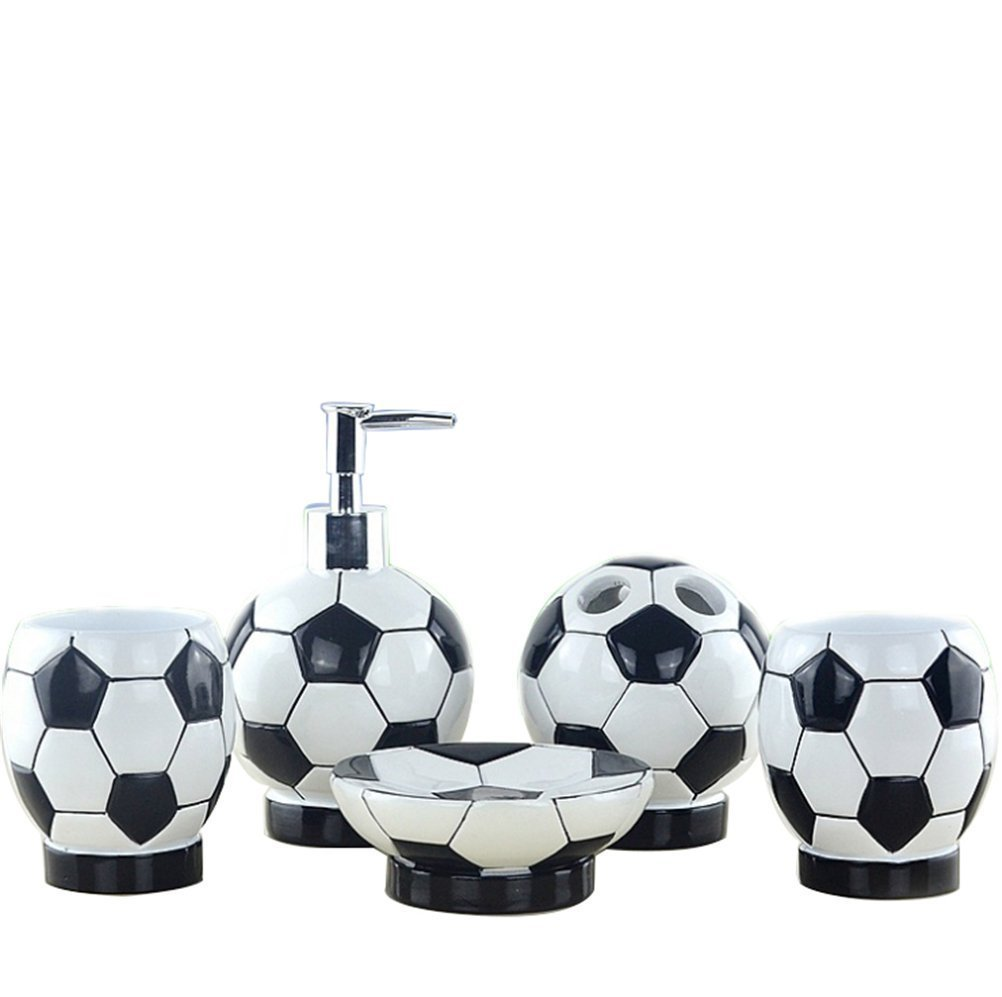 JynXos Resin 5 Pieces Bathroom Accessory Collection Set With Soccer Fans Gift Design For Home