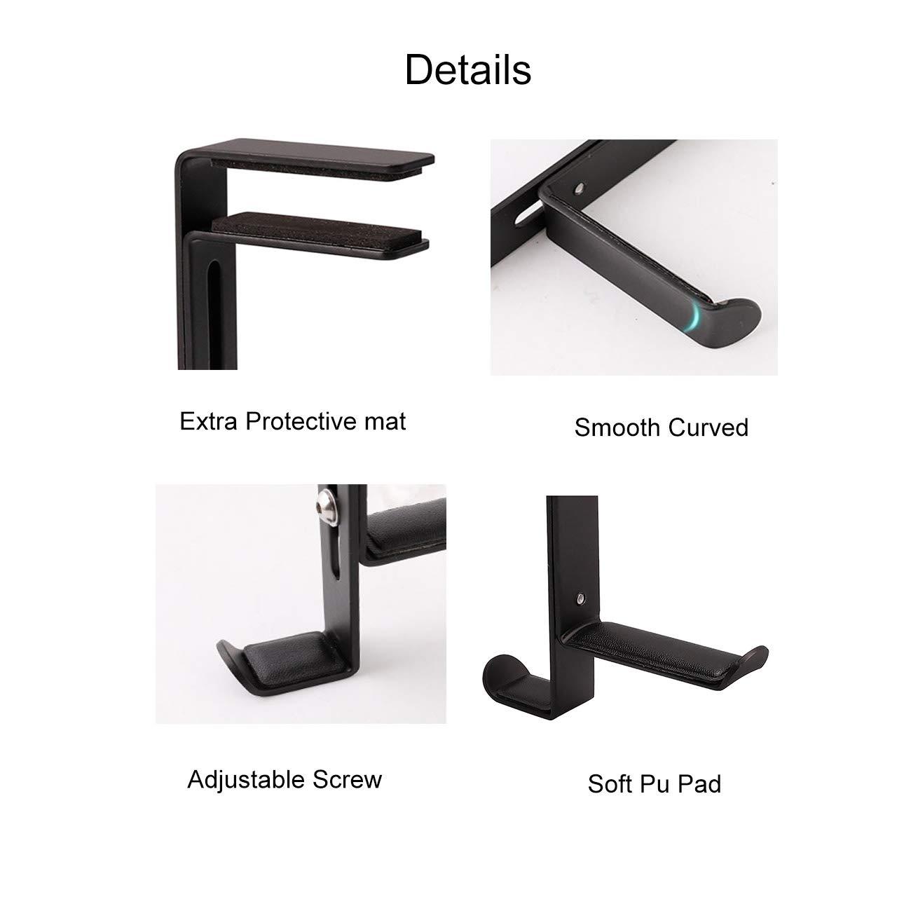 White Oriolus Headphone Hanger Headset Hook Holder with Adjustable Clamp for Desk