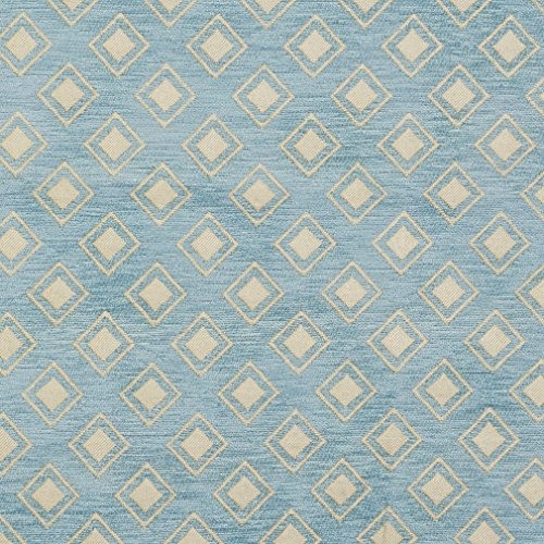 Diamond Chenille Upholstery - B0840D Aqua Light Blue Woven Small Diamonds Chenille Upholstery Fabric By The Yard