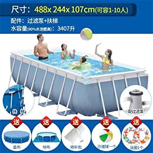 SHATOUYU Baby Play Bracket Swimming Pool Thickening Children's Home Large Pool Collapsible Pool Fish Pond Commercial Adult Family ERYA (Color : As Shown, Size : 488x244x104cm)
